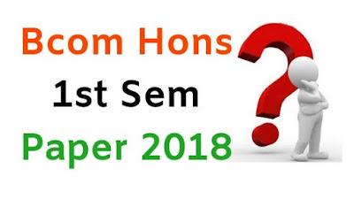Mdu BCom Hons 1st Sem Question Papers 2018