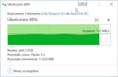 Kopiowanie 2GB pliku z dysku WD do ramdysku