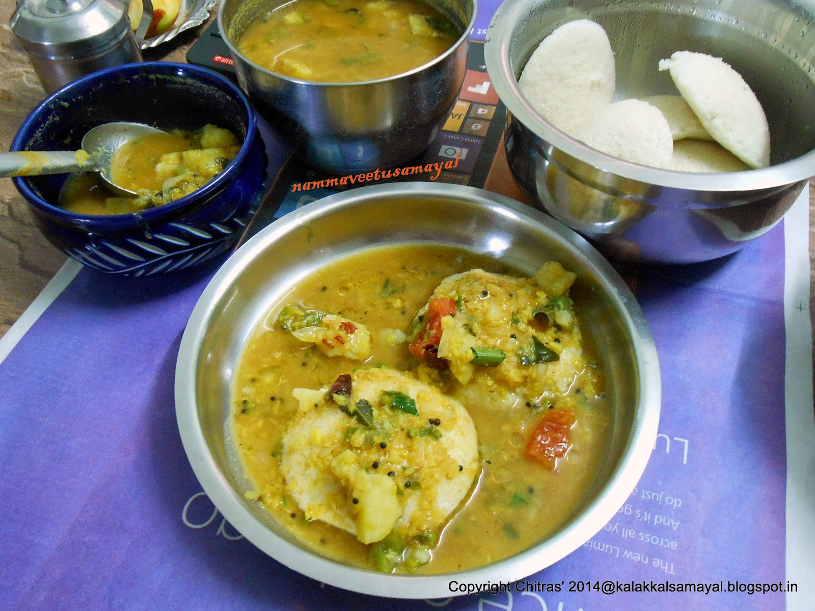 Potato Idli sambar
