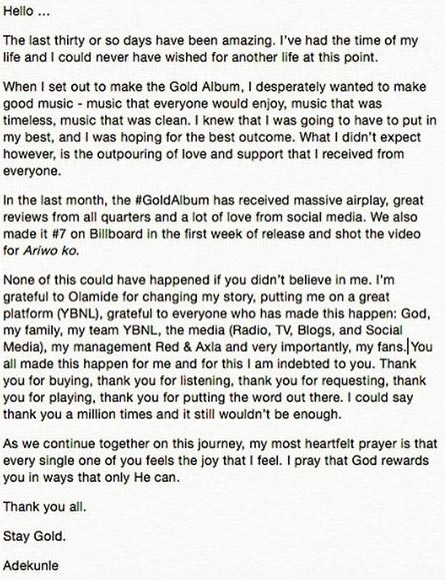"Adekunle Gold writes letter to his fans, appreciates them for ""Gold"" album success"
