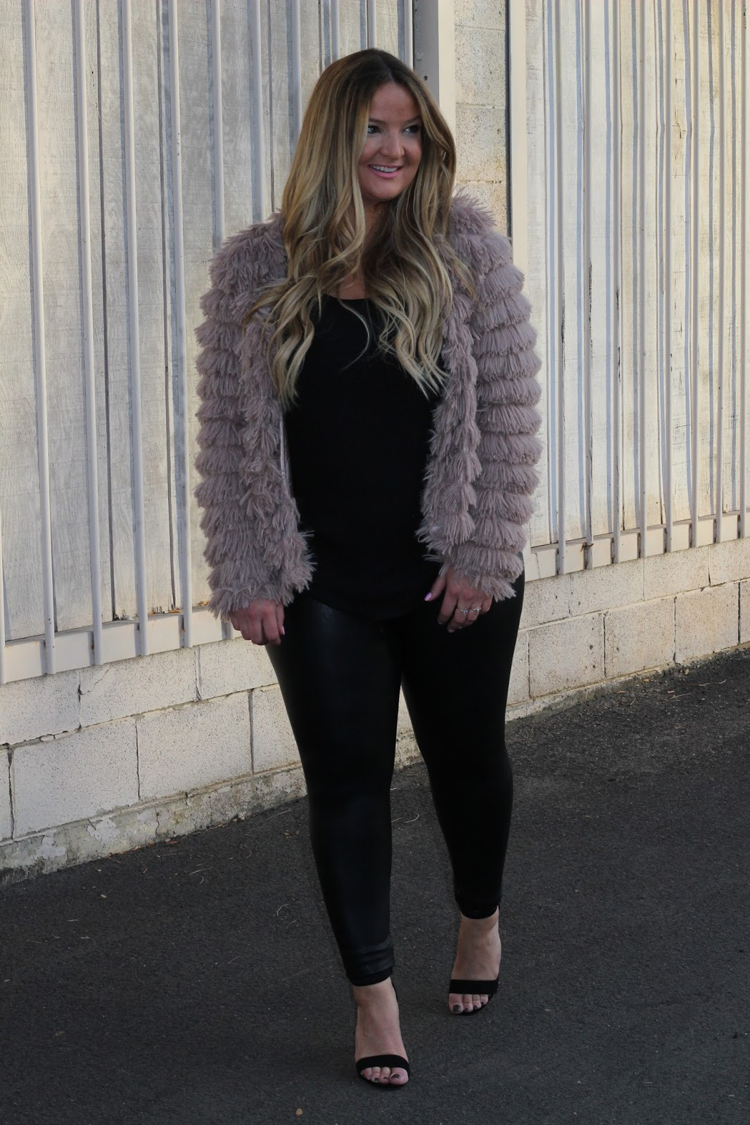 Shag jacket and monochromatic  by popular Denver fashion blogger Delayna Denaye