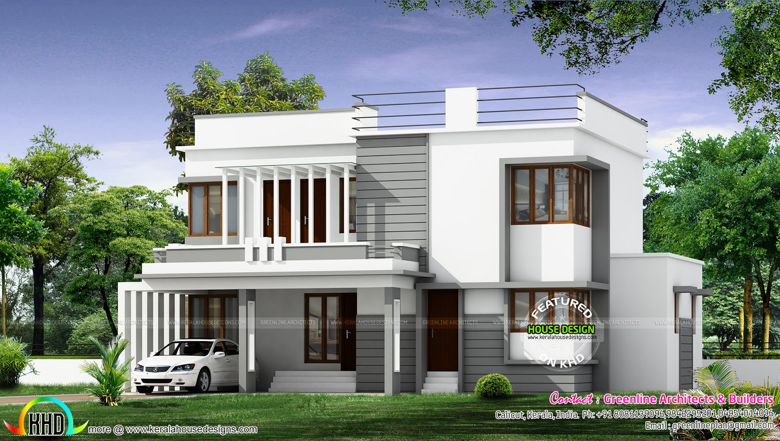 New modern house architecture kerala home design and for Modern house design 2016