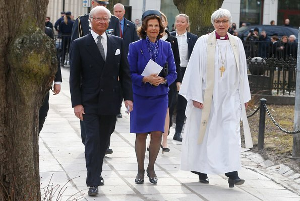 King Carl Gustaf and Queen Silvia of Sweden attended memorial ceremony for victims of 2017 Stockholm terrorist attack, held at Adolf Fredrik Church