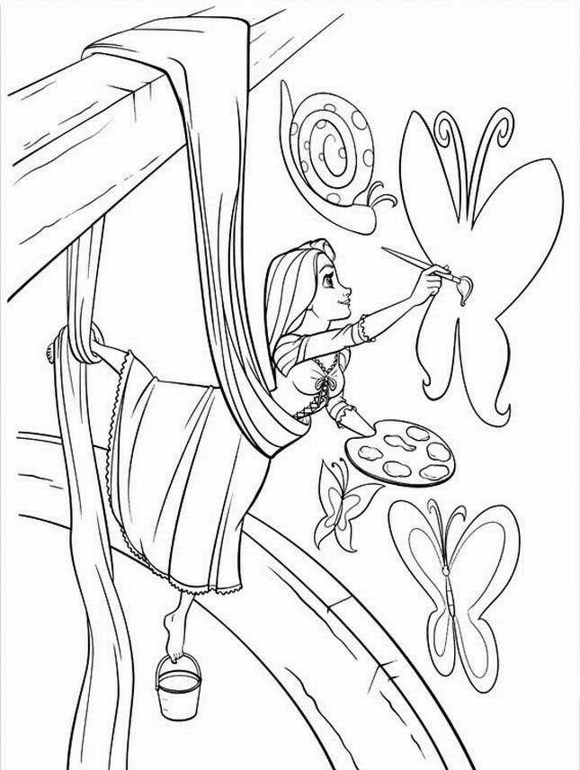 Rapunzel tangled coloring pages free printable pictures for Tangled coloring pages