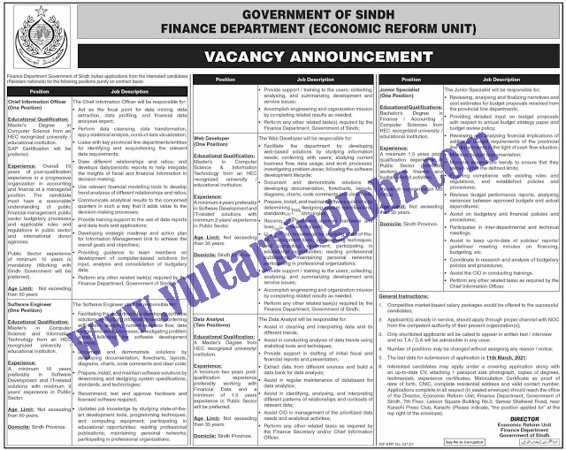 Latest Jobs 2021    Finance Department Government Of Sindh Economic Reform Unit Jobs 2021   For Software Engineer, Web Developer & MORE