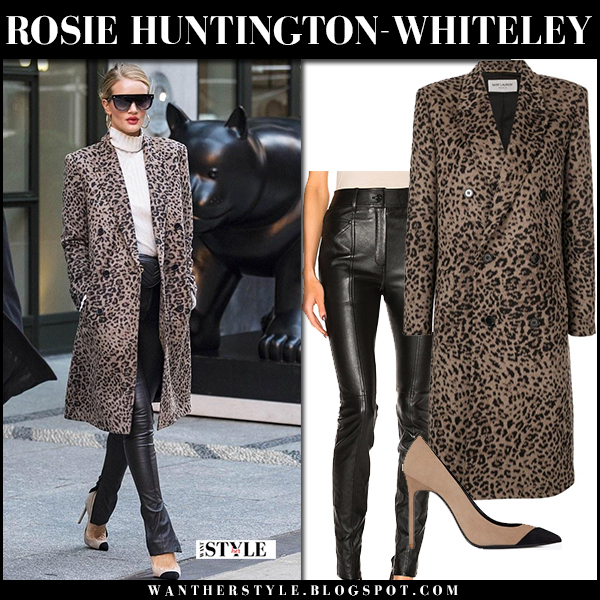 Rosie Huntington-Whiteley in leopard print coat and black leather skinny pants saint laurent street fashion new york february 8