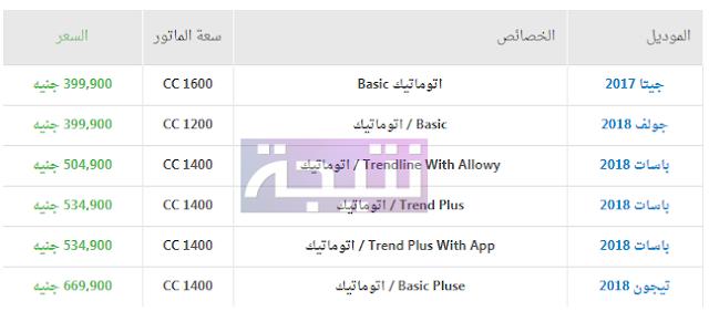 أسعار سيارات فولكس فاجن 2018 في مصر