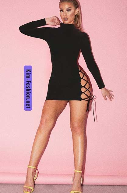 Black High Neck Cut Out Side Seam Bodycon Dress