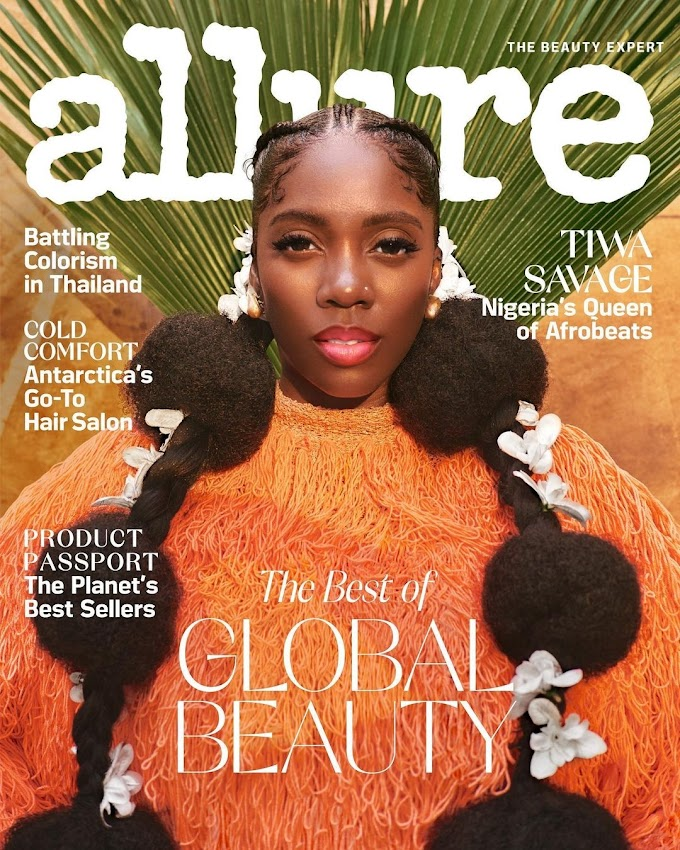 Tiwa Savage Covers Allure Magazine's Latest Issue.