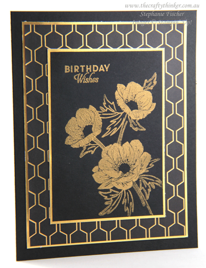 #thecraftythinker #stampinup #cardmaking #saleabration #floralessence #blackandgoldcard , Floral Essence, Golden Honey, Sale-A-Bration, Black & Gold card, Stampin' Up Demonstrator, Stephanie Fischer, Sydney NSW