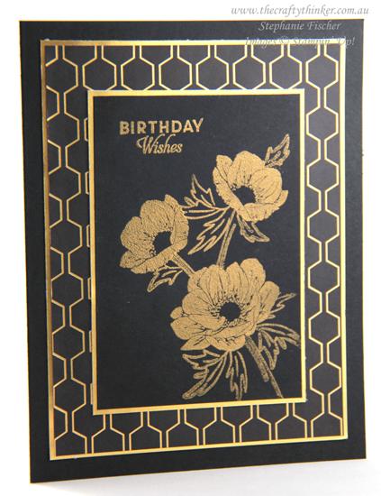 #thecraftythinker #stampinup #cardmaking #saleabration #floralessence #blackandgoldcard , Floral Essence, Golden Honey, Sale-A-Bration, Black & Gold card, Stampin' Up Demonstrator, Stephanie Fischer, Sydney NSW