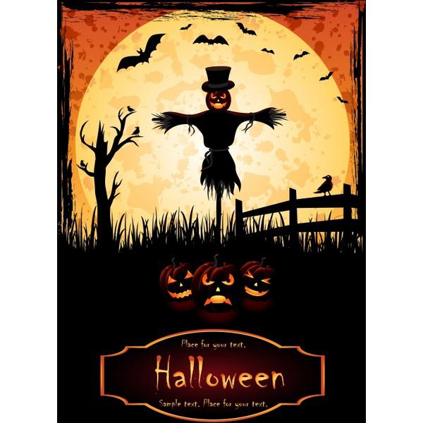 Halloween banner dark vintage scarecrow bats pumpkins decor Free vector