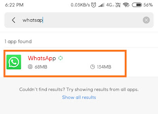 Step 2- Click on the Installed Apps tab and Find Whatsapp App from the list and Click on it.