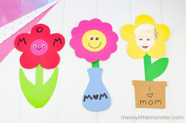 Mother's Day flower craft for kids with flower template