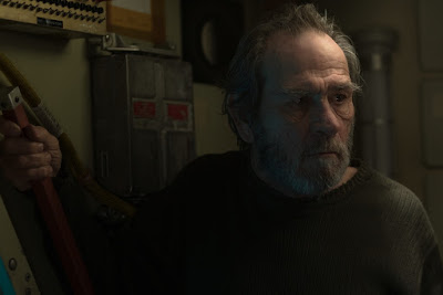 Ad Astra 2019 movie scene where a disgruntled Tommy Lee Jones has potentially been stuck in Neptune's orbit for three decades