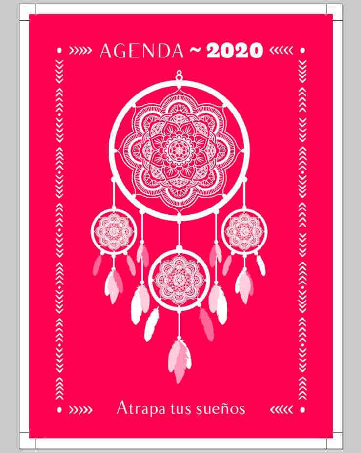 Vista previa de portada con diseño de atrapasueños para la agenda semanal Noho 2020