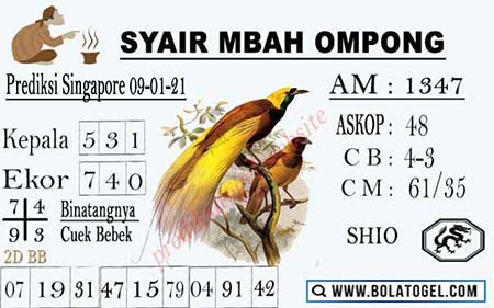 Syair Mbah Ompong SGP Sabtu 09-01-2021