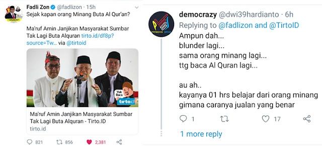 Ma'ruf Amin Mau Berantas Buta Qur'an di Sumbar, Fadli Zon: Sejak Kapan Orang Minang Buta Qur'an?
