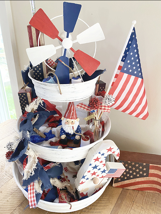 tiered tray with red white and blue