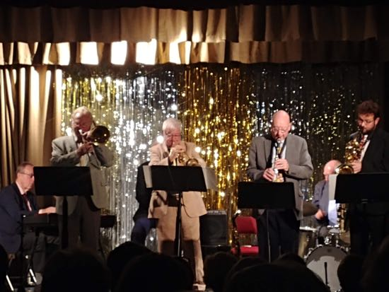 The Humphrey Lyttleton Jazz Band at the North Mymms Memorial Hall on Saturday 6 October 2018. Image by North Mymms News, released under Creative Commons BY-NC-SA 4.0