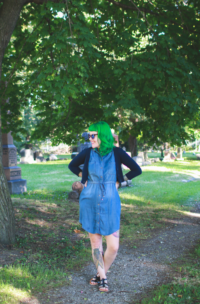 cleveland blogger, fashion, green hair, denim dress