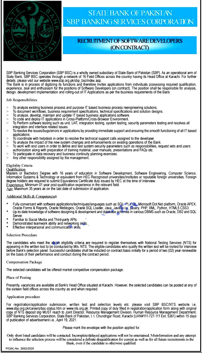Latest Jobs in State Bank of Pakistan SBP 2021