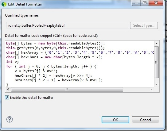 Eclipse detail formatter to view contents of a Netty ByteBuf as hex