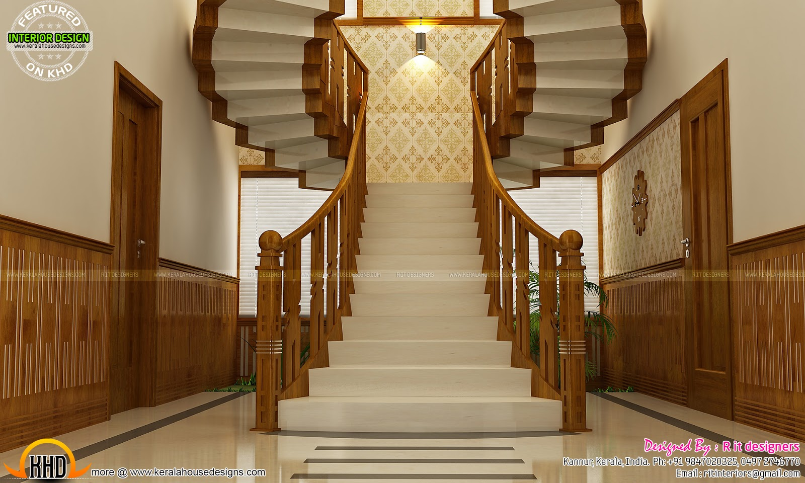 Main bedroom bifurcated stair living and courtyard for Interior design ideas for small homes in kerala