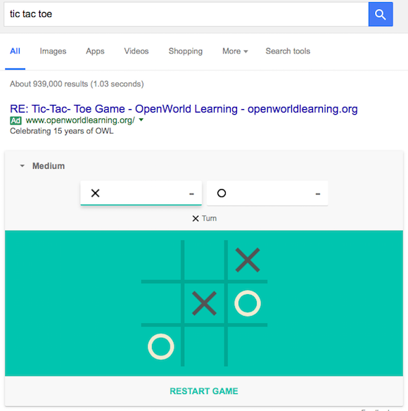 Google Search: Play Solitaire And Tic Tac Toe In Google Search