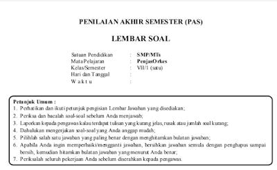 Latihan Soal UTS Penjas Kelas 1 SMP/MTS (PJOK) Semester 1