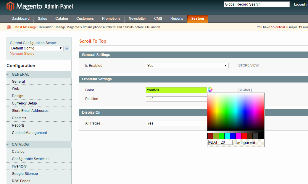 how to add color picker in magento admin configuration page magento