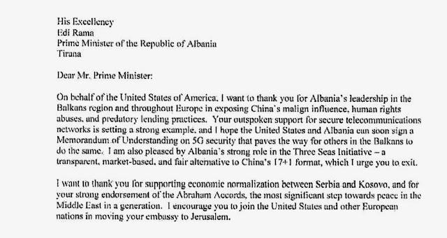 Donald Trump sends a letter to Edi Rama