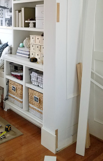 built-ins and doorway done on a budget