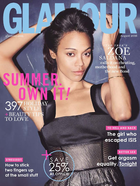 Actress, Dancer, @ Zoe Saldana - Glamour UK, August 2016