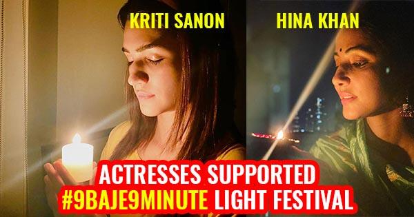 actresses lit up diya candles 9 baje 9 minute ligth festival