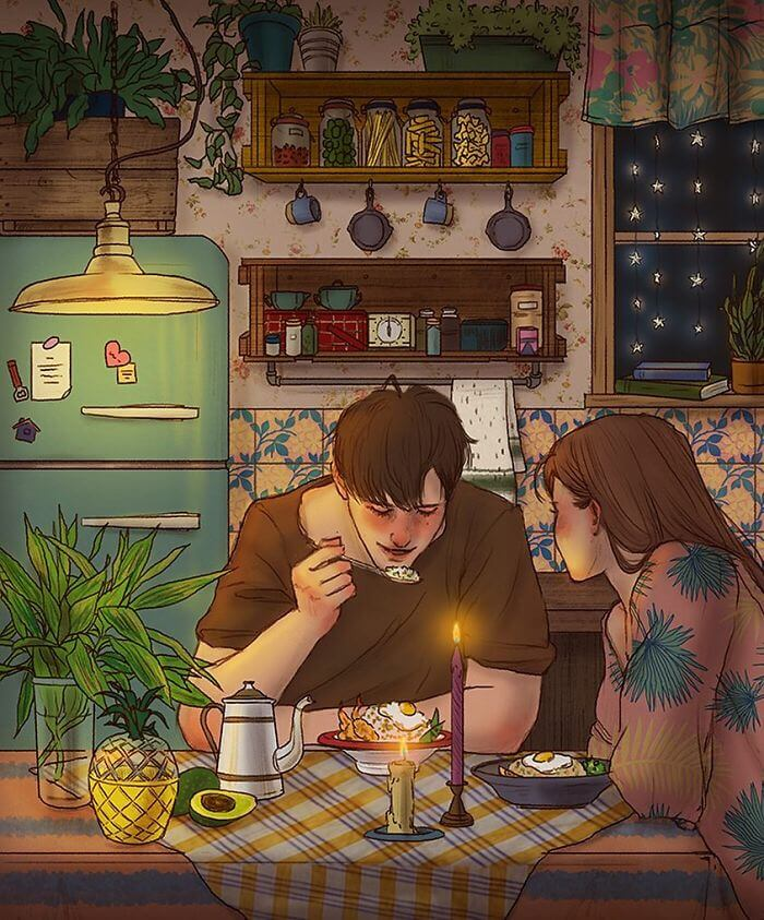 22 Beautiful Illustrations That Prove The Magic Of Love - Appreciating Lovely Home Made Dinners