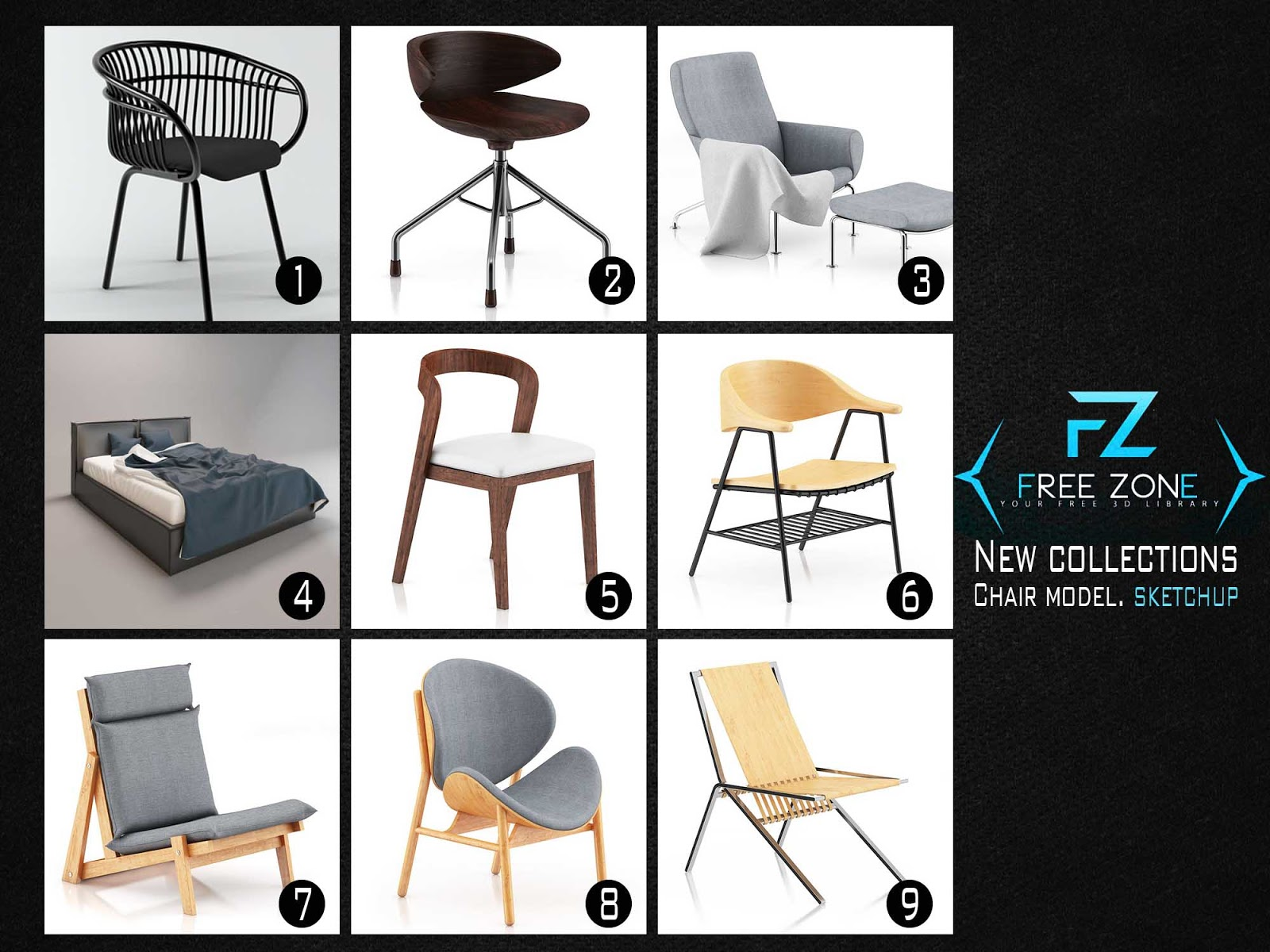 NEW COLLECTIONS SKETCHUP - MODERN CHAIR MODEL - FreeZone8D