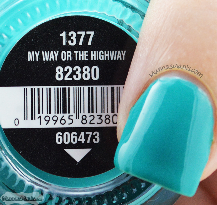 China Glaze Road Trip My Way or the Highway, a turquoise creme nail polish