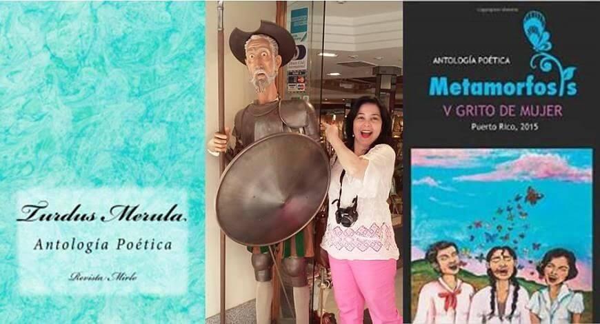 Libros de Mara Daisy Cruz: Turdus Merula (Antología poètica), Mara Daisy Cruz junto a una estatua del Quijote y Metamorfosis y grito de mujer (Antología poética)