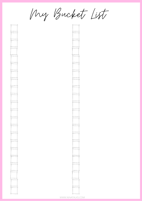 bucket list free printable