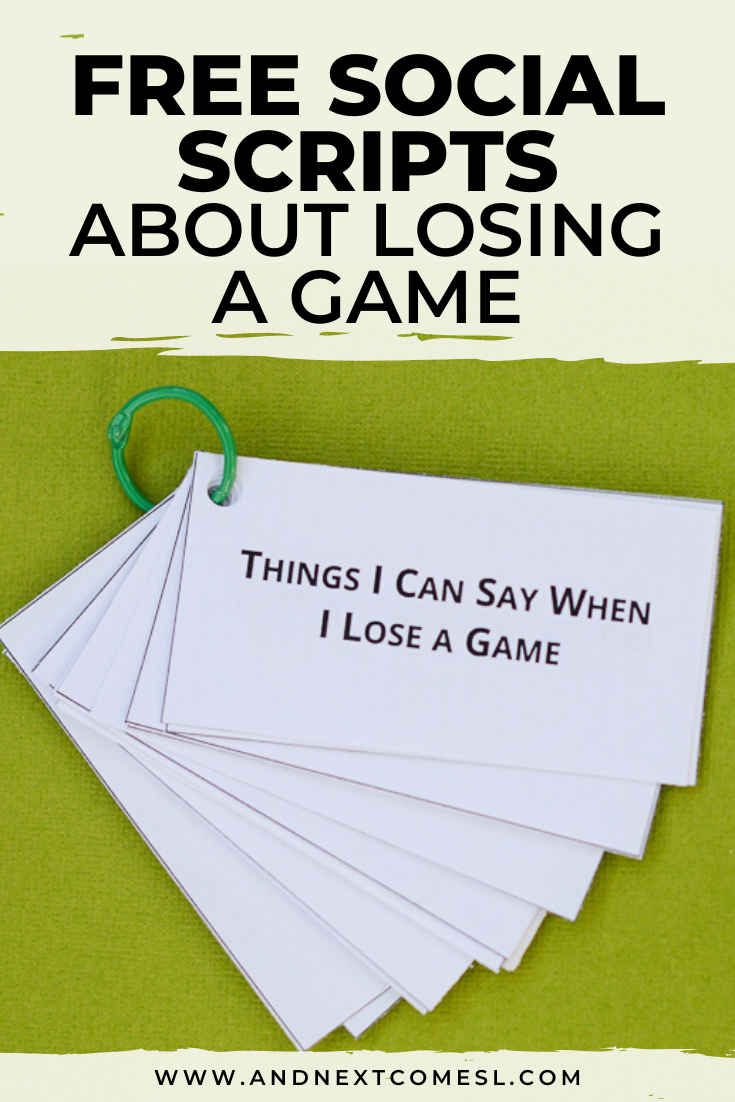 Free social scripts for autism about being a good sport when losing a game