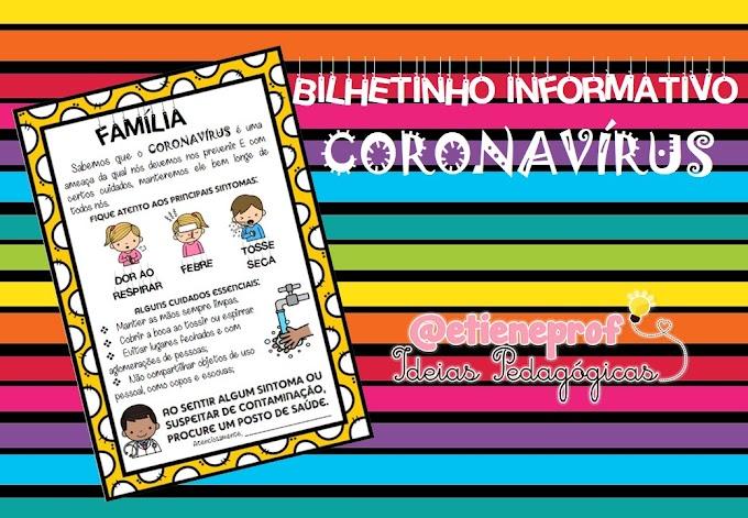 BILHETINHO INFORMATIVO CORONAVÍRUS