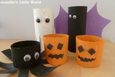 Halloween toilet roll tube creatures