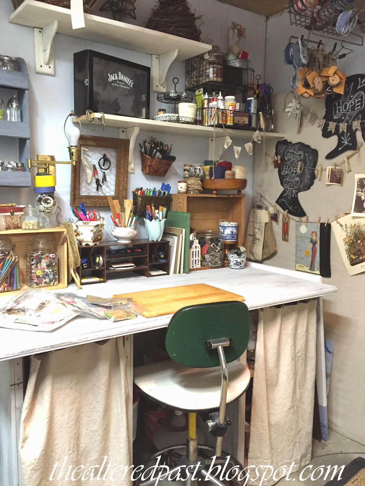 workroom art studio, organization, the altered past blog