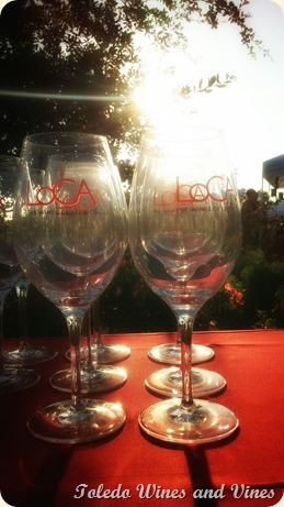 Sun illuminates wine glasses at Mohr-Fry Ranch