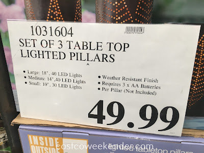 Deal for a set of 3 Inside Outside Garden Lighted Tabletop Pillars at Costco