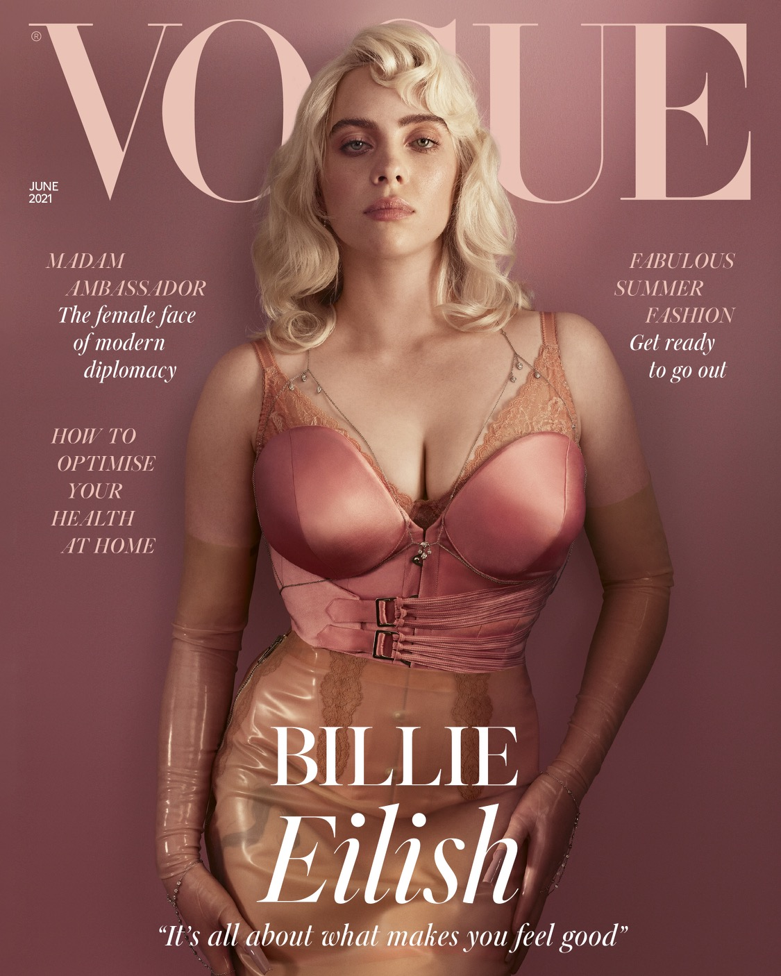 Billie Eilish covers the June issue of British Vogue in a custom Gucci corset and skirt