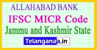 ALLAHABAD BANK IFSC MICR Code Jammu and Kashmir State