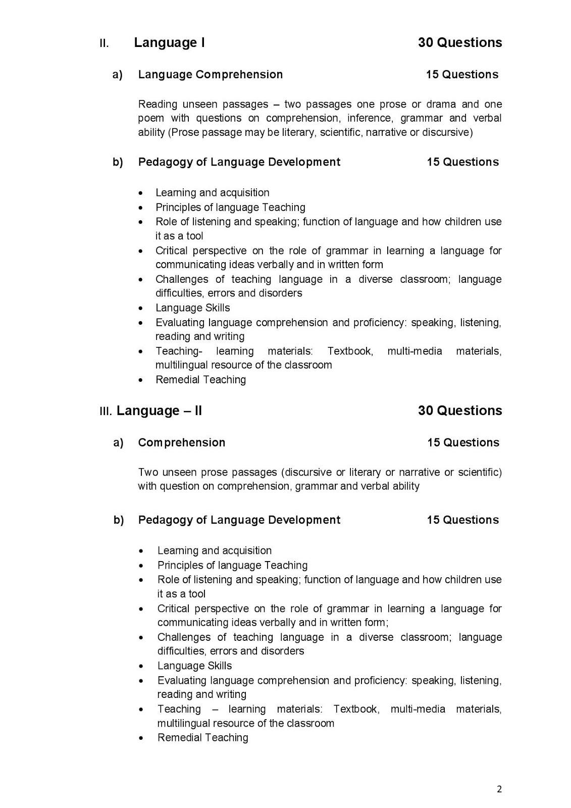 Central Teacher Eligibility Test (CTET) Syllabus for classes I to V