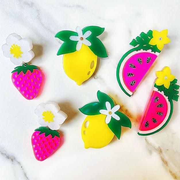 jewelry, handmade,small business, women owned business, Summer, earrings, strawberries, lemons, watermelons, athomewithjemma.com
